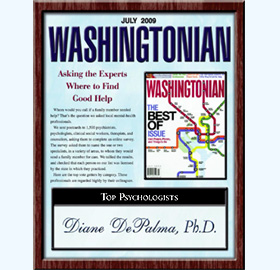 The Washingtonian rated Diane DePalma Ph.D. as one of the top psychologists in the region